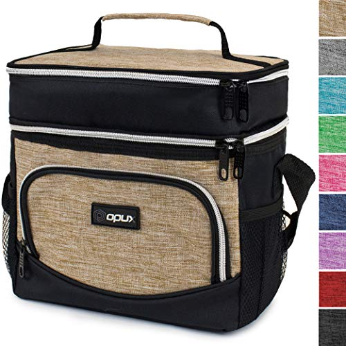 OPUX Premium Insulated Dual Compartment Lunch Bag for Men Women | Double Deck Leakproof Liner Lunch Tote | Soft Reusable Lunch Box for Work School Kid | Medium Lunch Pail, Fits 8 Cans (Heather Taupe)