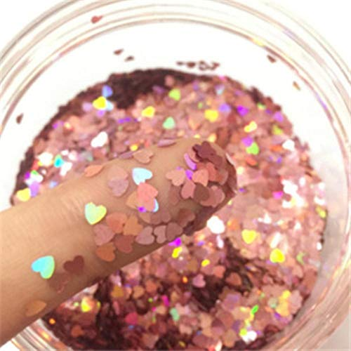 Ultradunne pailletten Love Heart Shape Sequin 3mm Small For Crafts Nail Art Manicure Bruiloft Decoratie 8g, Laser donkerroze, 3mm Heart sequin 8g