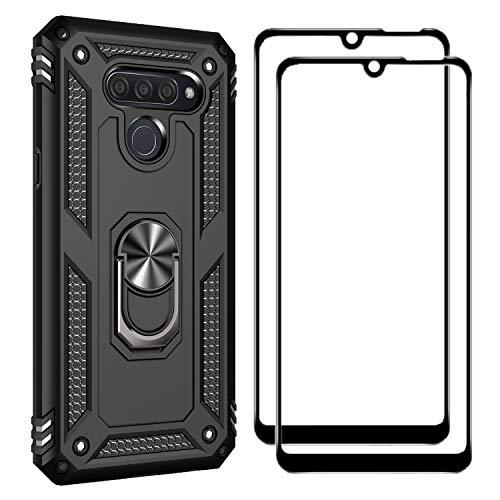 FANFO Funda + [2 Pack] Cristal Vidrio Templado para LG Q60, [Soporte Magnético para Automóvil] Defensa Militar Probada Duro PC y TPU con pie de Apoyo, Negro