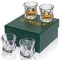 lanfula bicchieri da whisky, bicchiere cocktail cristallo, 210 ml, set di 4 pezzi, bella confezione regalo
