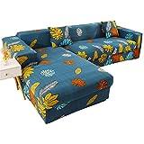 Fiaoen - Funda de sofá en forma de L antideslizante para esquina, suave, elástica, protector de sofá para perros, mascotas, niños, incluye 2 plazas y 2 plazas.