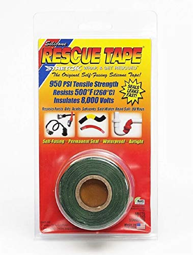 """Rescue Tape   Self-Fusing Silicone Tape   Emergency Pipe & Plumbing Repair   DIY Repairs   Seal Radiator Hose Leaks   Wrap Electrical Wires   Used By US Military   1"""" X 12'   Silicone Rubber   Green"""