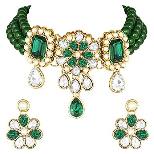 Aheli Gargantilla de perlas de imitación Kundan con pendientes de estilo indio, tradicional Bollywood para mujeres y niñas