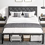 DICTAC Queen Bed Frame with headboard Metal Bed Frame Modern Platform Bed Frame U headboard Strong Steel Slat Support Mattress Foundation No Box Spring Needed Easy Assembly,Grey