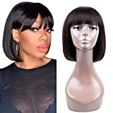 Short BoB Human Hair Wigs 100% Human Hair Wigs With Hair Bangs 8 Inch None Lace Front Wigs For Woman Glueless MachineMadeWigs Natural Color