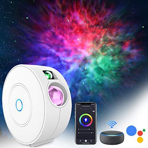 LED Alexa Proiettore cielo Stellato, ZOTO 3D Proiettore Luce Stellare con Funzione di Temporizzazione/Design Silenzioso, 16 Milioni di Colori RGB Dimming+4 Scene Lampada Nebulosa per Bambini Festa
