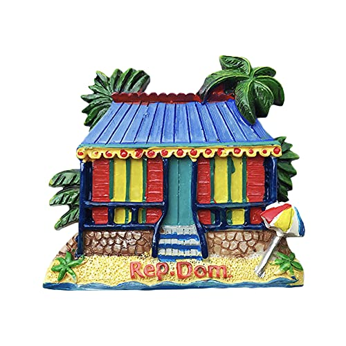 Rep.Dom - Imán para nevera con diseño de casa dominicana en 3D, regalo de recuerdo hecho a mano, decoración para el hogar y la cocina Dominica