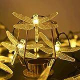 Guirlande Lumineuse Solaire 50 LED Libellule Guinguette Extérieur Blanc Chaud Flash Libellule Lampe Solaire Décoration avec 8 Modes Lumière Eclairage Etanche pour Jardin, Terrasse, Noël