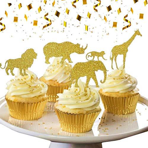 JeVenis 30 Pcs Gold Glitter Dschungel Safari Tier Cupcake Topper Dschungel Tiere Kuchen Dekorationen für Dschungel Safari Tiere Party Baby Duschen