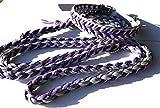 Viva Nature Handgemachtes Hunde-Halsband MIT Leine im Set/verstellbar 35-42 cm \ Paracord-PP-Flechtleine/Geflochten/Hund (Lila grau)