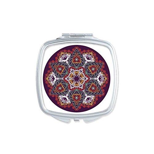 Boeddhisme Religie Boeddhistische Kleurrijke Asymmetrische Abstract Ronde Illustratie Patroon Vierkant Compact Make-up Pocket Spiegel Draagbare Leuke Kleine Hand Spiegels