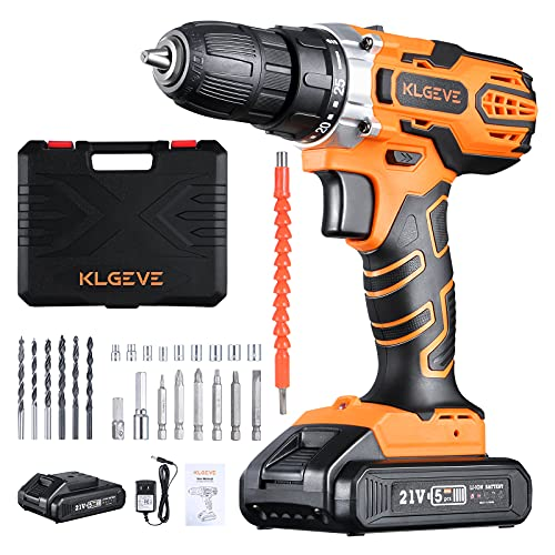 """Cordless Drill Set, KLGEVE 21V MAX Lithium-Ion Power Drill Cordless, 0-350RPM/0-1400 RPM Variable Speed, 25+1 Clutch style, 3/8"""" Metal Chuck, 24pcs Accessories"""