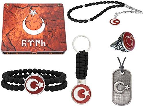 Göktürk Handgemachte Schatulle mit Schmuck Ay Yildiz' Rot für Herren: Set aus Halskette, Ring, Armband, Gebetskette - Tesbih, Schlüsselanhänger