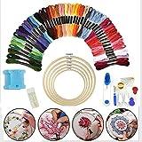 zhuangyulin6 50 Colores Starter Cross Stitch Set Hilos Kit de Bordado Craft DIY Tool Fabric, Kit de Inicio de Bordado, Kit de Punto de Cruz Herramientas para niños, Adultos