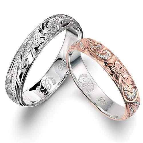 ハワイアンジュエリー ペアリング 刻印無料 シルバー925 指輪 2個セット 【シルバー:15号】【ピンク:3号】 SR102-SR103P