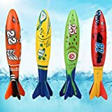 Pool Diving Toys Throwing Bandits Underwater Gliding Shark Swimming Glides Toys Small Water Rockets 4 Colorful Fun Toy for The Pool and Bath