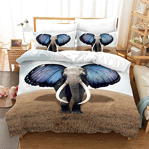 YYSZM Duvet Cover 3D Elephant Pattern Polyester Fabric Is Soft Skin-Friendly Easy To Clean 3-Piece Set 200x225cm