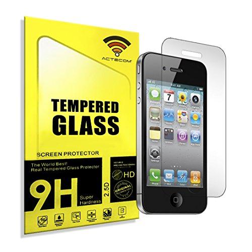 actecom Protector DE Pantalla Compatible con iPhone 4 4S 4G Cristal Vidrio Templado