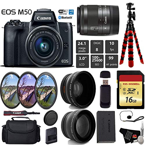 Canon EOS M50 Mirrorless Digital Camera with 15-45mm Lens + UV FLD CPL Filter Kit + Wide Angle & Telephoto Lens + Camera Case + Tripod + Card Reader - International Version Bundle Kit