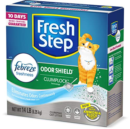 Fresh Step Odor Shield Scented Litter with the Power of Febreze, Clumping Cat Litter, 14 Pounds