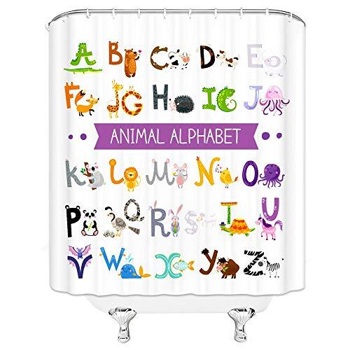 Duschvorhang, bunt, umweltfre&lich, Buchstabe ABC, Cartoon, Kinder, Polyester, waschbar, 180 x 180 cm