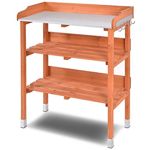 COSTWAY Pflanztisch Holz Zinkplatte Gärtnertisch Arbeitsplatte Gartentisch mit Ablage und Haken, Holzpflanztisch Pflanzregal für Garten Balkon...