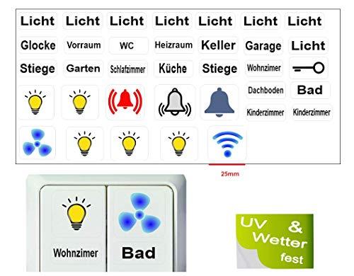 Generisch 35 Stück Schalter Aufkleber Set Licht Schalteraufkleber Schalter Sticker (R15/2) (25mm große Aufkleber)