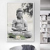 仏アートワーク絵画キャンバスポスター額縁禅ポスターと家の装飾のためのプリントキャンバス絵画/ 60x85cm-フレームなし