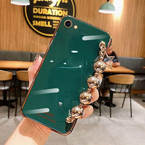 DEIOKL Estuche para teléfono con Pulsera de Agua de Cuentas de Metal galvanizado de Lujo para iPhone 11 12 Pro X XR XS MAX 7 8 Plus Funda Suave de Moda, 4, para iPhone 8 Plus