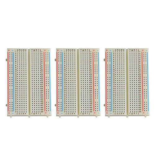 Neuftech 3 x 400 puntos de contacto Breadboard Experimental Protoboard placa de pruebas para Raspberry Pi Arduino(sin soldadura)