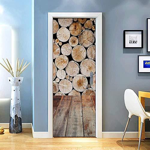KEXIU 3D Suelo de madera mixta 3 (madera en rollo) PVC fotografía adhesivo vinilo puerta pegatina cocina baño decoración mural 77x200cm