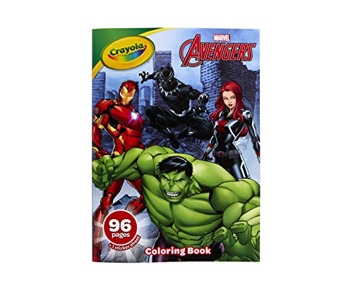 Crayola Avengers Coloring Book with Stickers, Gift for Kids, 96 Pages, Ages 3, 4, 5, 6