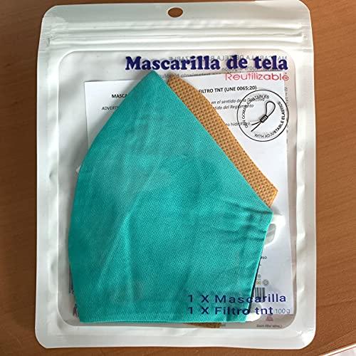 Cussi - Mascarilla de Tela Higiénica Reutilizable Homologada UNE 0065:20 y Certificada BFE 99%, Lavable hasta 20 ciclos-pack 2 mascarillas, estuche, filtros extra (TURQUESA, NEGRO)