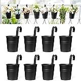 Dahey 8 Pcs Hanging Flower Pots Metal Iron Bucket Planter for Railing Fence Balcony Garden Home Decoration Flower Holders with Detachable Hooks, Black