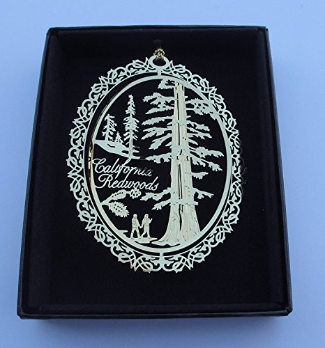 I Love My State California Redwood Trees Ornament Black Leatherette Gift Box