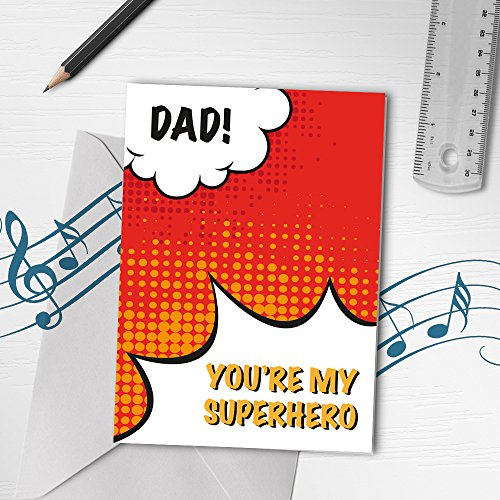 Unique Father's Day Card | Recordable Greeting Card, Superhero Dad, Funny Father's Day, Dad Day Card 00194 (10sec Recordable)