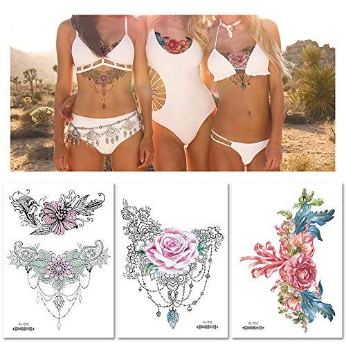 10x Flor romantica Tatuajes temporales para mujeres, Cicatriz de ...