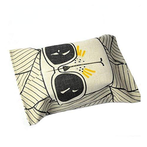 YAeele Tejido caja de pañuelos titulares de almacenamiento de Caja Porta papel tejido plegable con la impresión digital Ambiental de algodón de lino tejido cubierta de la caja del coche de la sala Dec