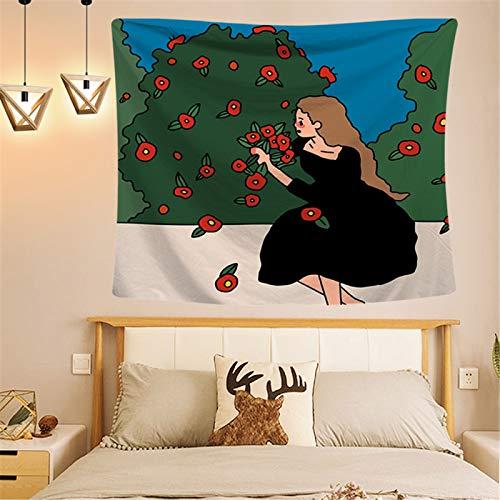 Tapiz Pequeño De Estilo Fresco, Tela Colgante De Decoración De Pared De Niña De Dibujos Animados, Tela De Fondo De Dormitorio De Dormitorio
