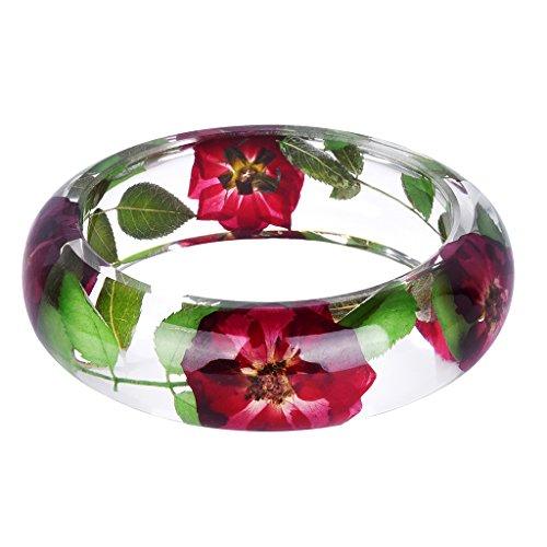 chiwanji Handgemachte Lucite Kunststoff Getrocknete Blumen Einschluss Armband Armreif Kristallklar - # 6