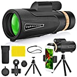 18x62 Waterproof Monocular Dual Focus Optics Zoom Telescope, Day & Night Vision, with Smartphone Holder and Tripod Perfect for Bird Watching, Hunting, Monitoring and Hiking