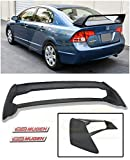 Extreme Online Store for 2006-2011 Honda Civic Sedan Models   EOS Mugen RR Style ABS Plastic Primer Black JDM Rear Trunk Lid Spoiler Wing W/Mugen Red Emblem Pair