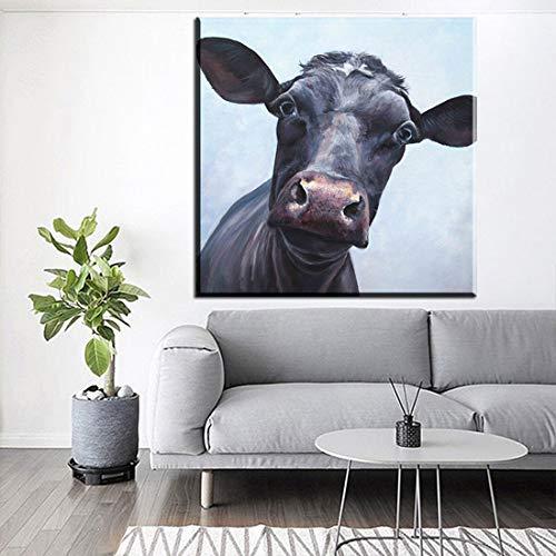 tzxdbh Abstract Canvas Wall Art Picture Kleurrijke Koe Dier Canvas Prints Muurschilderingen Voor Woonkamer Decoratie Unframed-in Schilderij & Kalligrafie van Gr No frame 40x40cm Xdr186