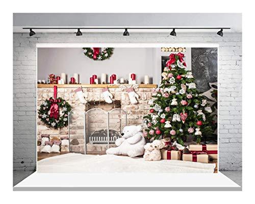 AIIKES 7x5FT Fondo de fotografía de Navidad Árbol de Navidad Regalo Fondo de Chimenea Fondo de fotografía de...