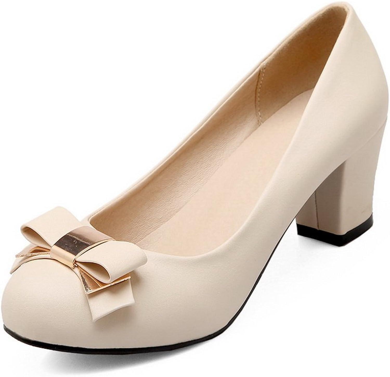 BalaMasa Ladies Solid Kitten-Heels Slip-Resistant Upper Leather Pumps-shoes