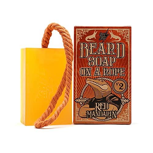 HEY JOE! - Beard Soap on Rope Nº 2 Red Mandarin | Jabon para Barba en Pastilla con Fragancia de Mandarina - Barra de Jabón 150 ml