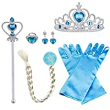 Vicloon Elsa Princess Dress Up Accessories, Crown Wand Blue Gloves Tiara Braids Necklace Ring Earrings Set of 8