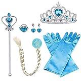 Vicloon ELSA Prinzessin Kostüme Set of 8, mit ELSA Handschuhe, Prinzessin Tiara Braid, Zauberstab...