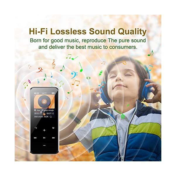 MP3 Player with Bluetooth 4.1, 16GB Music Player Portable Lossless Sound Bluetooth mp3 Player with FM Radio Voice Recorder Touch Button, Support up to 128GB (Headphone, Sport Armband Included) 5