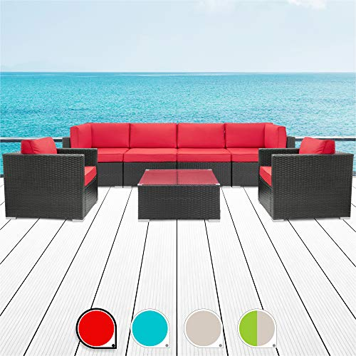 Walsunny 7pcs Patio Outdoor Furniture Sets,All-Weather Rattan Sectional Sofa with Tea Table&Washable Couch Cushions (Black Rattan(armrest Version) (Red)